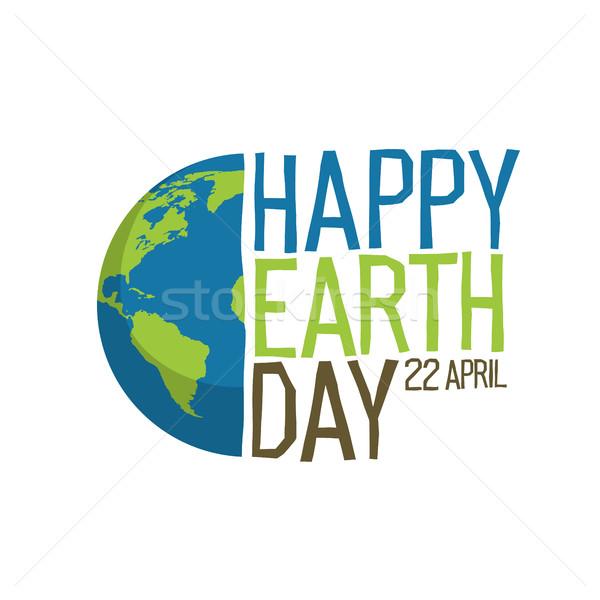 Dzień ziemi projektowanie logo szczęśliwy 22 mapie świata Pokaż Zdjęcia stock © pashabo
