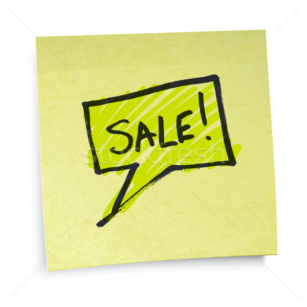 Sale text on yellow sticky paper. Vector illustration, EPS10. Stock photo © pashabo