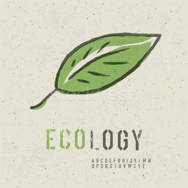 Ecologie collectie groen blad afbeelding naadloos Papierstructuur Stockfoto © pashabo