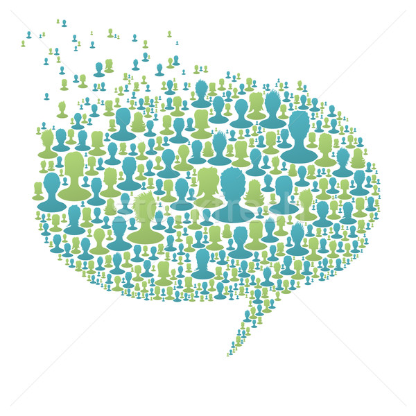 Speech bubble, composed from many people silhouettes. Social net Stock photo © pashabo