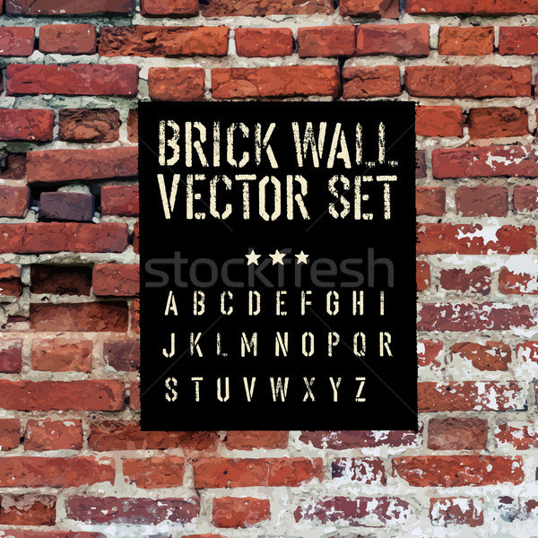 Brick traced texture, stencil alphabet and grunge rectangle. Thr Stock photo © pashabo