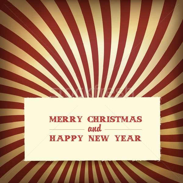 Christmas greeting on retro rays background, vector. Stock photo © pashabo