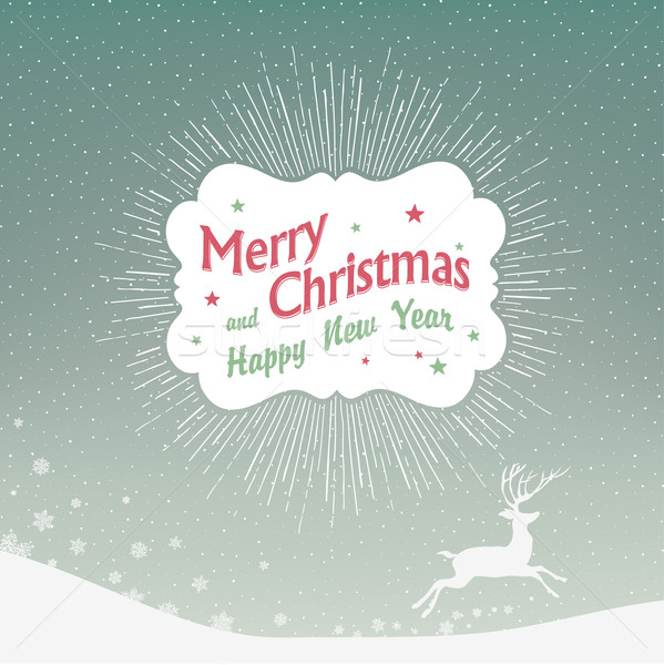 Christmas Background with Falling Snow and Deer Silhouette Stock photo © pashabo