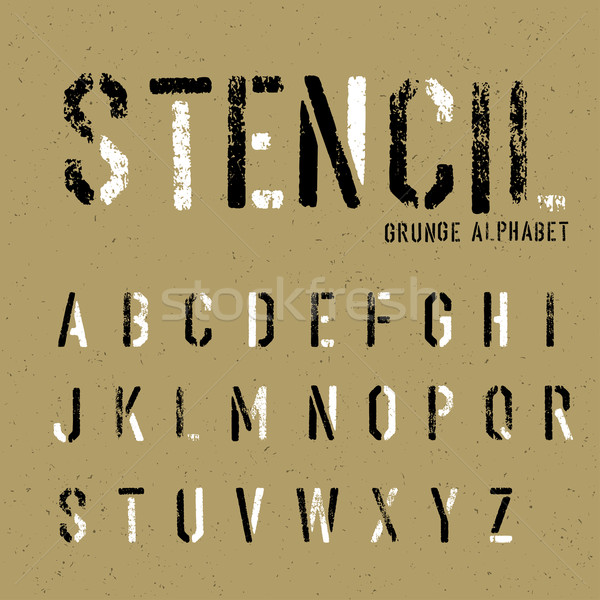Grunge stencil alfabet graffiti stempel brieven Stockfoto © pashabo