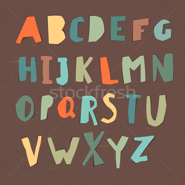 Paper Cut Alphabet. Colorful letters. Easy edited color of lette Stock photo © pashabo