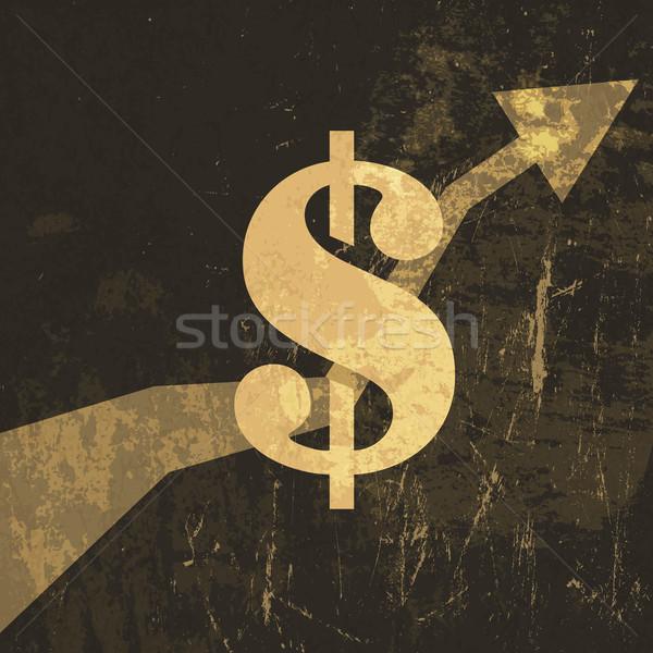 Retro inkomsten groeien omhoog illustratie dollarteken Stockfoto © pashabo