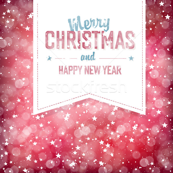 Merry Christmas Greeting Card. Red defocused lights background w Stock photo © pashabo