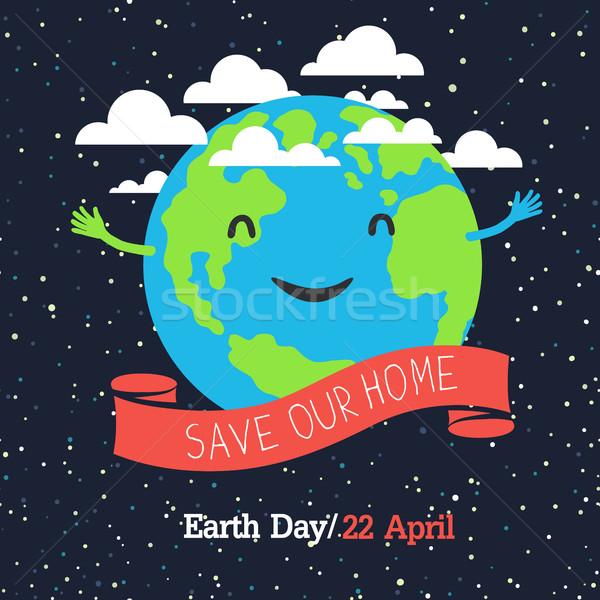 Föld napja poszter rajz stílus Föld illusztráció Stock fotó © pashabo