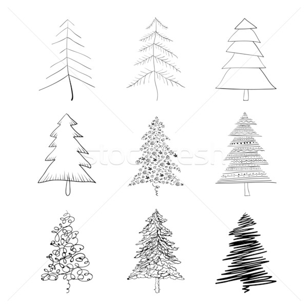 Kerstboom silhouet ingesteld illustraties vector eps8 Stockfoto © pashabo