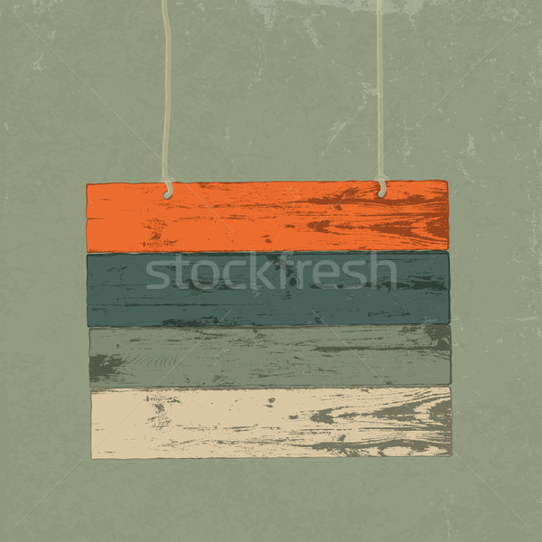 Retro wooden sign. Vector illustration, EPS10 Stock photo © pashabo