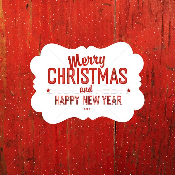 Vintage Рождества Label красный твердая древесина текстуры Сток-фото © pashabo