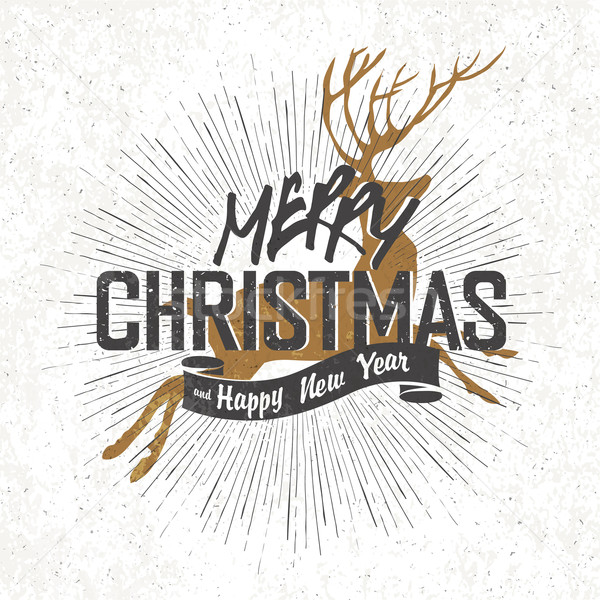 Merry Christmas Vintage Monochrome Lettering with Christmas deer Stock photo © pashabo