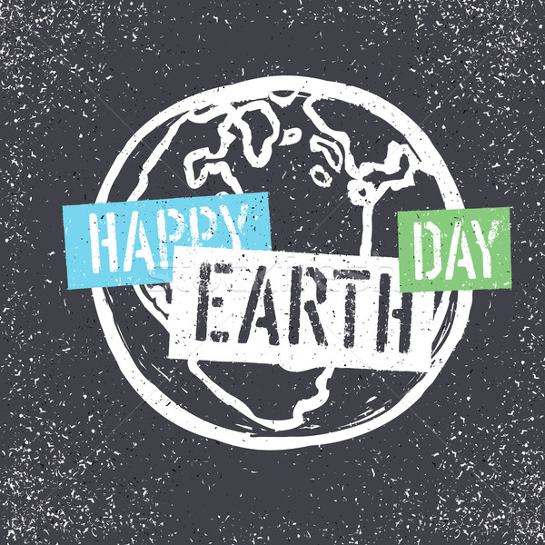 Happy Earth Day. Grunge lettering with Earth Symbol. Stencil gru Stock photo © pashabo