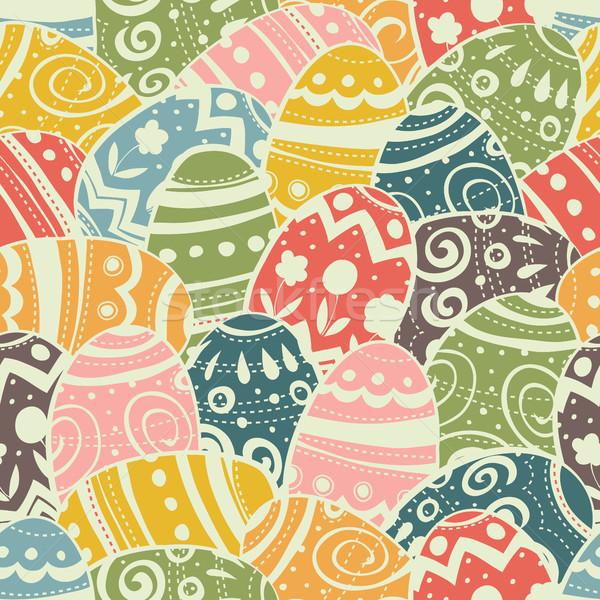 Paskalya yumurtası model pastel renkler bağbozumu Stok fotoğraf © pashabo