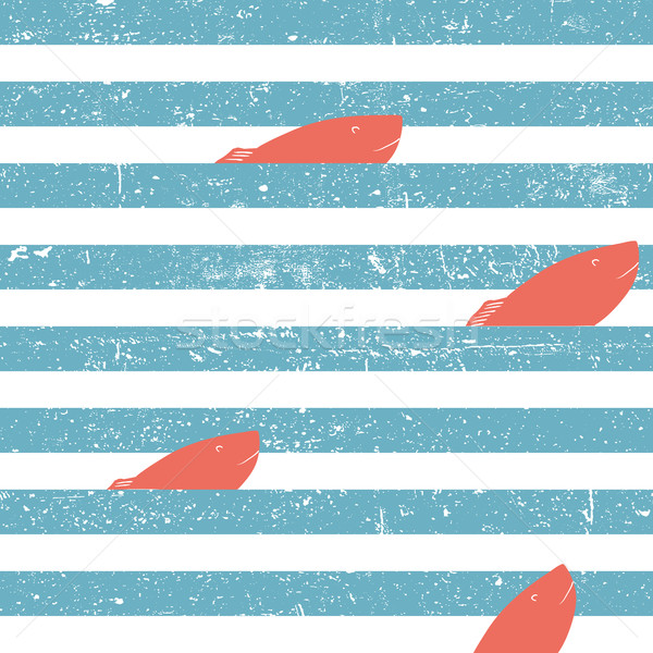 Marine background with red fish seamless. Blue lines seamless pa Stock photo © pashabo