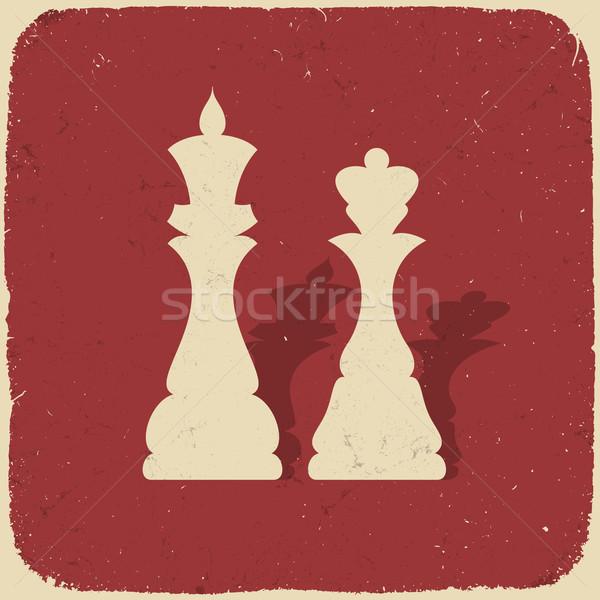 Re regina retro scacchi eps eps10 Foto d'archivio © pashabo