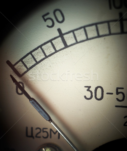 Vintage analog measurement dial with arrow at zero position, clo Stock photo © pashabo