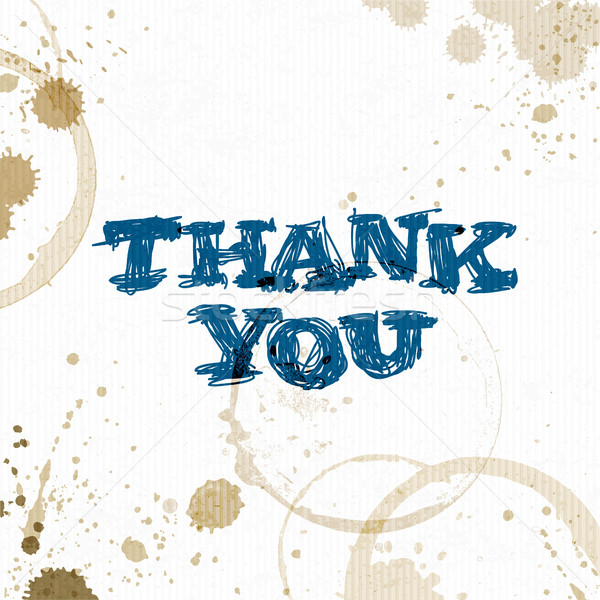 Coffee stains with Thank You phrase.  Hand drawn vector illustra Stock photo © pashabo