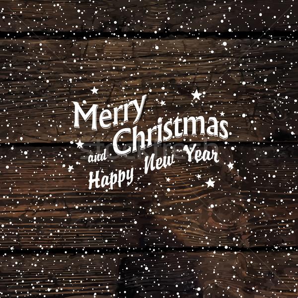 Christmas postcard with Falling Snow and Merry Christmas greetin Stock photo © pashabo