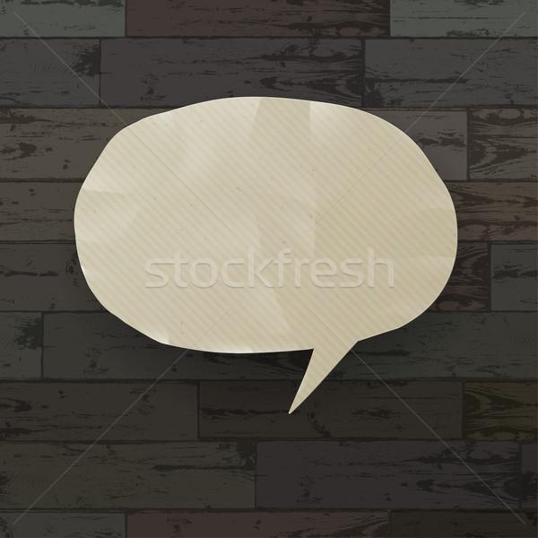 Konuşma balonu ahşap doku eps10 iş ahşap Stok fotoğraf © pashabo