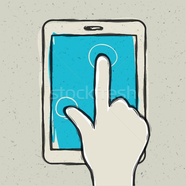 Stock fotó: Absztrakt · kéz · megérint · digitális · tabletta · eps10