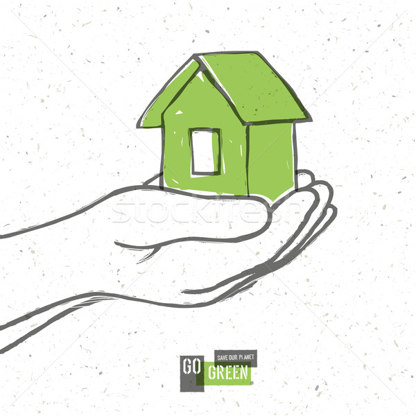 Go Green Concept Poster With House. Vector Stock photo © pashabo