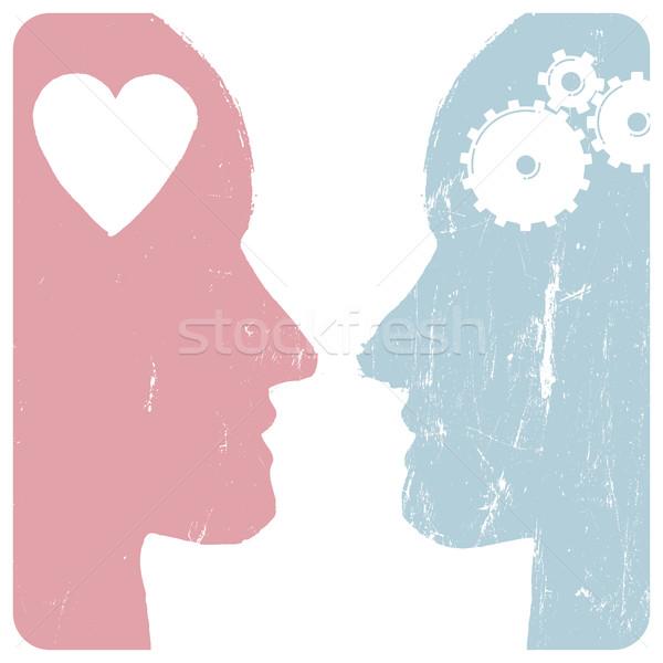 Man vrouw betrekkingen versnellingen hart grunge Stockfoto © pashabo