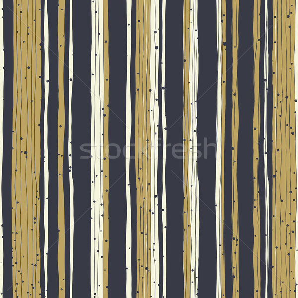 Golden stripes and black lines with chaotic dots. Seamless hand- Stock photo © pashabo
