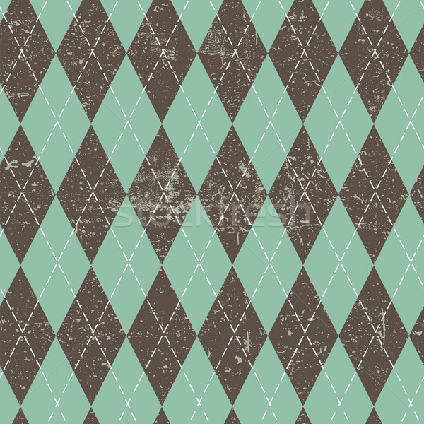 Argyle seamless aged pattern. Blue and brown rhombus, grungy tex Stock photo © pashabo