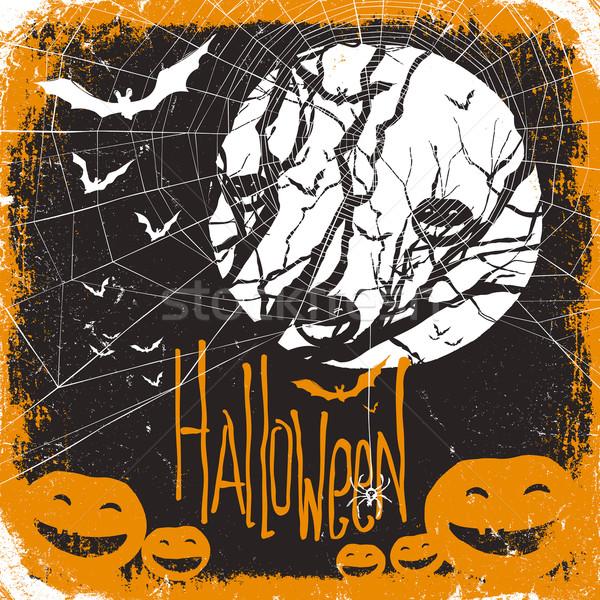Halloween vector illustration. Dry tree, full moon and pumpkins  Stock photo © pashabo