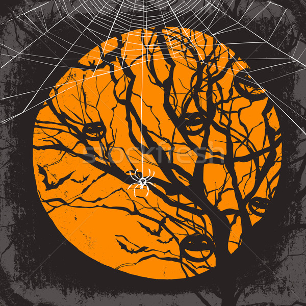 Halloween vector background. Dry tree and spider web Stock photo © pashabo