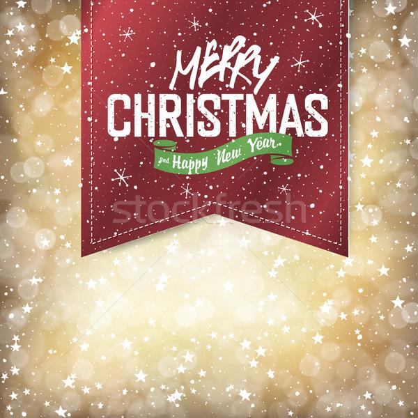 Stok fotoğraf: Neşeli · Noel · ışıklar · mutlu · altın · hediye