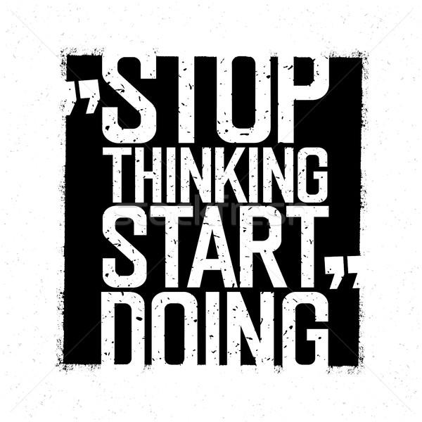 やる気を起こさせる ポスター 停止 思考 開始 黒 ストックフォト © pashabo