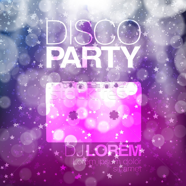 Disco poster or flyer design vintage vector template on colorful Stock photo © pashabo