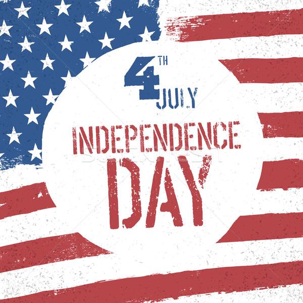 Cuarto día bandera de Estados Unidos patriótico bandera saludo Foto stock © pashabo