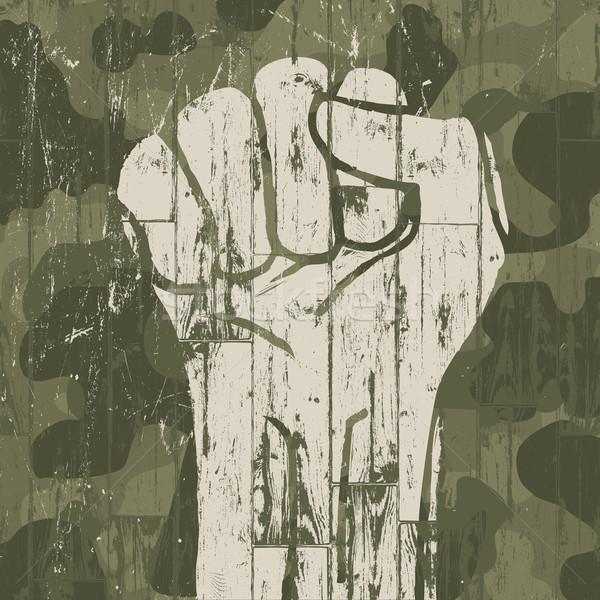 Vuist symbool revolutie militaire camouflage vector Stockfoto © pashabo