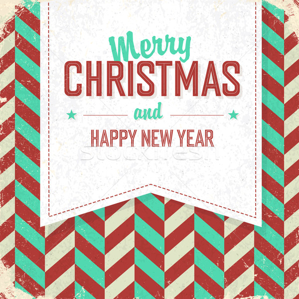 Vintage poster with Merry Christmas Lettering. Retro Xmas Badge Stock photo © pashabo