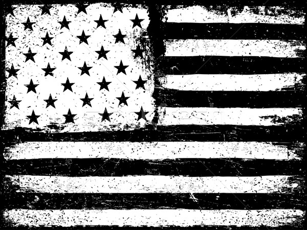 Stars and stripes. Monochrome Negative Photocopy American Flag B Stock photo © pashabo