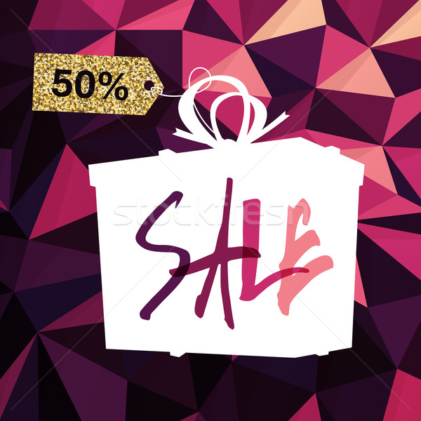 Sale banner on Low Poly Dark Pink Background. Sale template. Big Stock photo © pashabo
