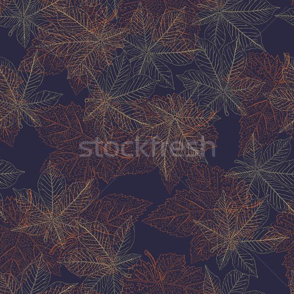 Gesztenye őszi levelek végtelen minta természet háttér narancs Stock fotó © pashabo