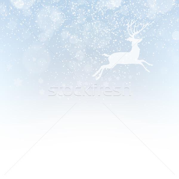 Stockfoto: Christmas · herten · sneeuwval · geïsoleerd · kerstmis · nieuwjaar