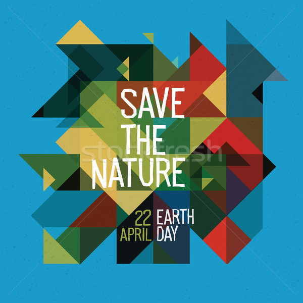 Happy Earth day poster. 22 April. Colorful abstract nature geome Stock photo © pashabo