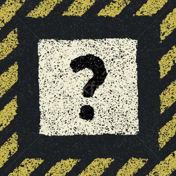 Question sign on asphalt in hazard frame.  Stock photo © pashabo