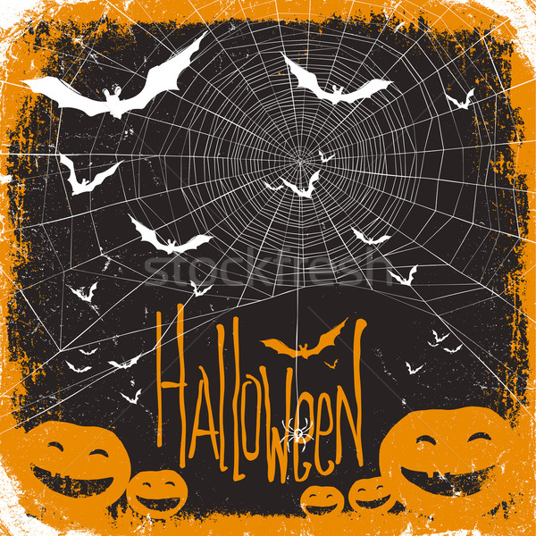 Halloween vector illustration. Spider web, pumpkins and bats Stock photo © pashabo