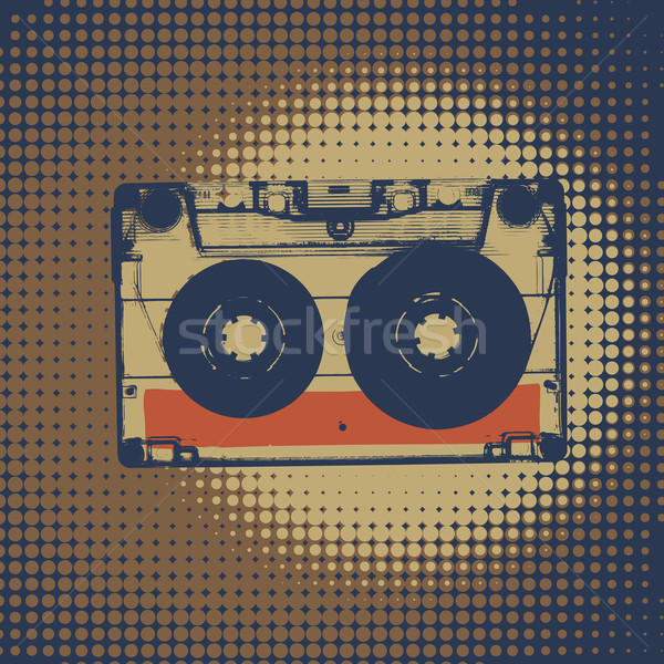 Audiocassette retro music background. Audiocassette illustration Stock photo © pashabo