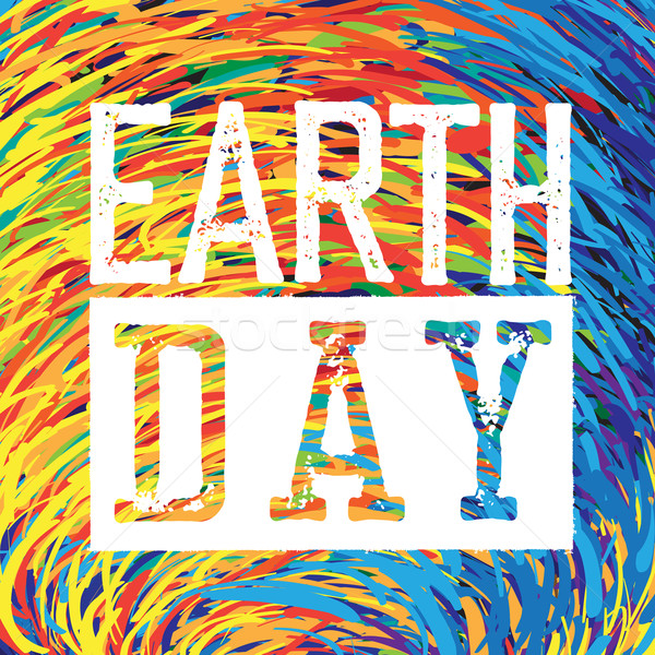 Earth Day Logo. Grunge texture in separate layer.  Stock photo © pashabo