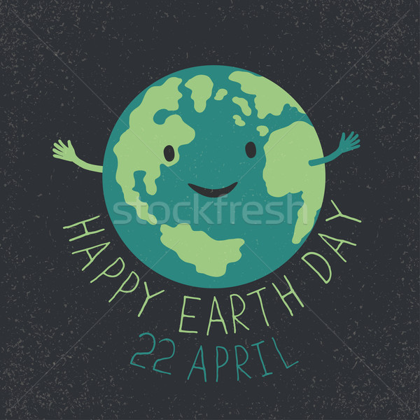 Earth Day Illustration. Earth smiling and reveals a hug. 'Happy  Stock photo © pashabo