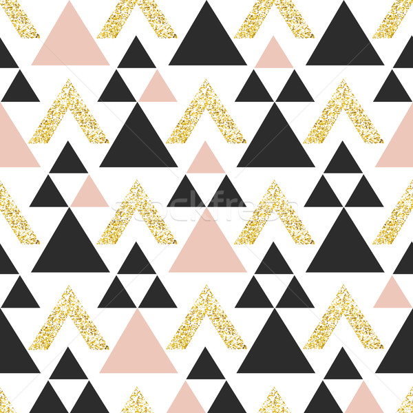 Gold geometric triangle background. Abstract seamless pattern wi Stock photo © pashabo