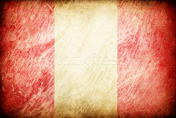 Stock photo: Grunge rubbed flag series of backgrounds. Peru.