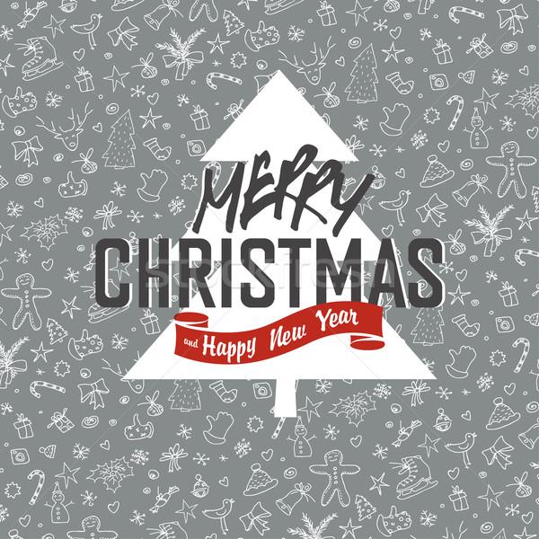 Neşeli Noel tebrik kartı noel beyaz Stok fotoğraf © pashabo